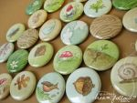 hand painted nature buttons 2 by merwing