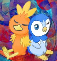 Torchic and Piplup by MelodyCrystel