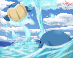 Bounce and Waterspout by fancyfennekin
