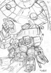 Prime and Magnus vs Shockwave by littleiron