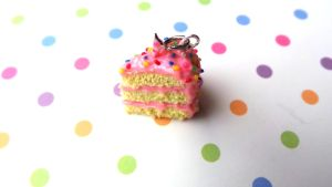 Polymer Clay Birthday Cake Slice Charm by ClayConfectionary