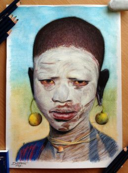 African Child Color Pencil Drawing by AtomiccircuS