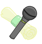 Commission Cutie Mark: microphone and scroll by DelLyra