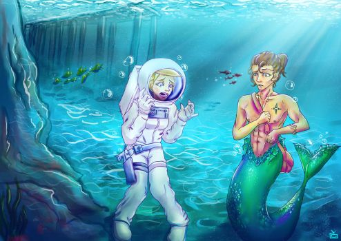 The Astronaut and the Merman by TylerDauix