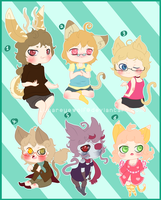 Kemonomimi Adoptables: Kae's Siblings .:Closed:. by Pieology