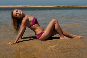 Maria - pink bikini on sand 5 by wildplaces