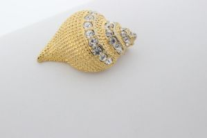Gold and diamond sea shell brooch jewelry stock by BeccaB323