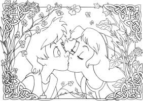 kiss Taran and Eilonwy lineart by lizzzy-art