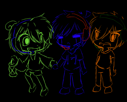 meh and my bros in amnesia by lunalunamew