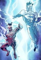 ESuperman red and ESuperman man blue collaboration by Dany-Morales