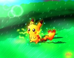 Shiny Pikachu Yay by Spice5400