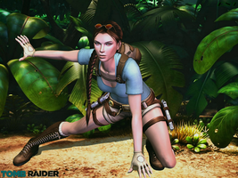 XNALara: Lara's Soft Landing Pose-Jungle View by LaraLuvsMe