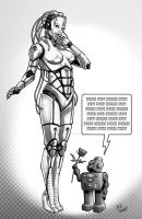 Robot Shorts Pin Up Greys by StevenHoward