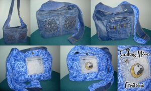 Peace Denim Hobo Bag by SmilingMoonCreations