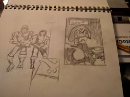 Judge Dredd sketches by AlexAdrian2099