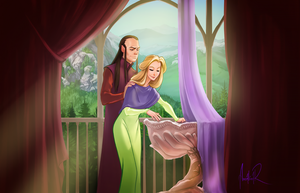 Celebrian and Elrond by ancalinar