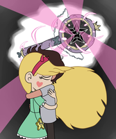 Star and Marco are sad hugging for her broken wand by Dark-Machbot