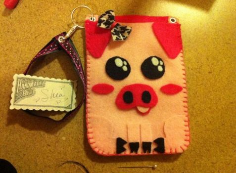 Pig Front Cellphone sleeve by wishididntwakeup