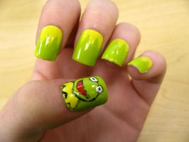 Kermit Nails by WaterLily-Gems