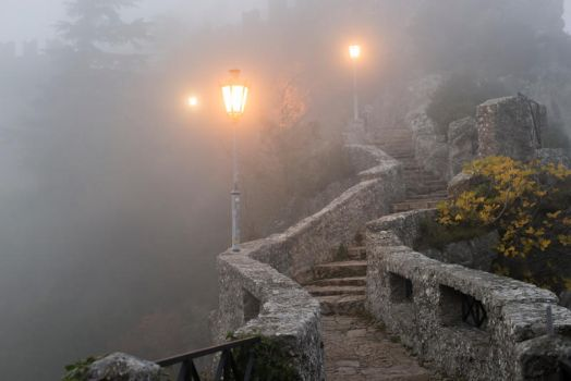 Foggy Castle Steps Stock by little-spacey