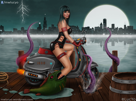 Vespa Pinup Girl by MwLucYo