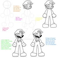 Mario Drawing Tutorial by HeartinaThePony