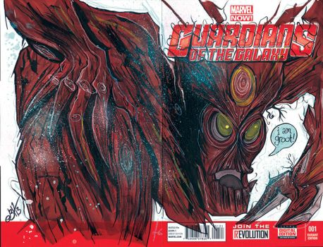 'GotG' Groot sketchcover by Justin3000