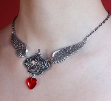 Crown wings necklace by Pinkabsinthe