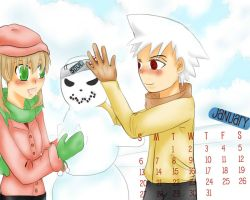 Soul x Maka January calendar by Littlegrazygirl