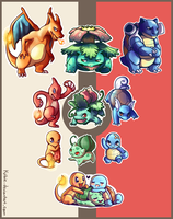 Gen 1 starters sticker pack by Kiibie