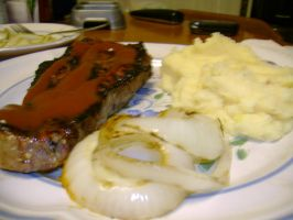 Steak potatoes and grilled oin by aragornsparrow