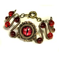 Evil Red Dragon Eye Bracelet by CatherinetteRings
