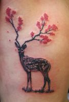 Deer with flower antlers by TattoosbyMayMay