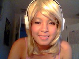 Rin Kagamine Makeup Trial one with headset by SakuraBlizzard