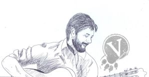 Jensen Ackles with the beard and the guitar-sketch by VeIra-girl