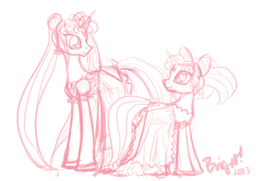 Pony!Neo-Queen Serenity and Pony!Small Lady by SakuraKaijuu
