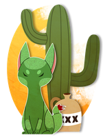 cactus cat by drownedcities