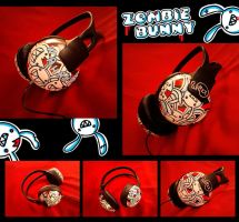 Zombie Bunny HEADPHONES by giotomia