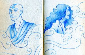 Aang Katara doodles by lauramw