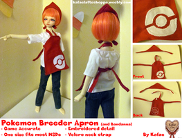 Pokemon Breeder Apron with Bandanna for BJD MSD by Kafae-Latte