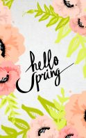 IPHONE hello Spring white with text by cocorie