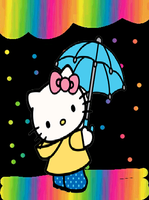 Hello Kitty in the rainbow rain by Bjnix248