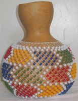 GOURD SEKERE with 9mm Plastic Pony Beads by Melalina