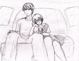 in the car with Rei by kamesen
