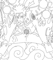 Naruto Controlled Beast Form Lineart by Yakama