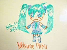 Chibi Hatsune Miku on whiteboard by watermelemon