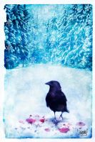 the crow in the snow by irionik