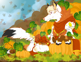 Throne of pumpkins by foxdeamon