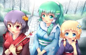 Touhou - Happy New Year 2013! by KANE-NEKO
