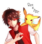 Red and Pikachu 20th Anniversary by Hiro-Arts